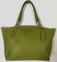 New Coach 31076 small Kelsey Pebble Leather Satchel handbag Yellow Green - $119.00