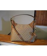 Authentic Michael Kors Aria Large Shoulder Bag Beige Ebony Crossbody New... - $148.49