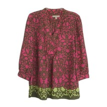 Womans Banana Republic M Pink Brown Pleat Front Popover Tunic - $17.82