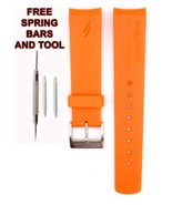 Nautica A13010 22mm Orange  Diver Rubber Watch Strap Band Anti Allergic ... - $28.71