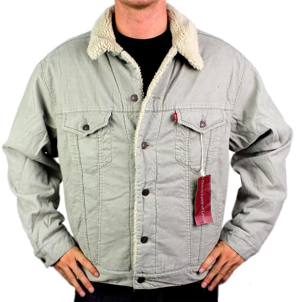 NEW LEVI'S MEN'S CLASSIC BUTTON UP STONE FUR CORDUROY TRUCKER JACKET 705203227