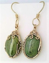 Green Opal Gold Wire Wrap Earrings 14 - $45.00