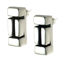 TAXCO STERLING SILVER 925 OXIDIZED MOSAIC EARRINGS -Mexico Vintage Style... - $29.75
