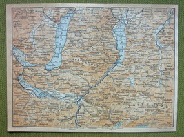 AUSTRIA Ischl Environs Alps Hollengebirge Traunsee - 1911 MAP ORIGINAL B... - $5.74