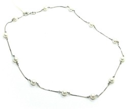18K WHITE GOLD NECKLACE ALTERNATE VENETIAN CHAIN ROUND WHITE 6mm FW PEARLS image 1