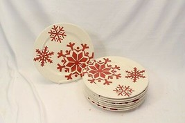 "Canterbury First Frost Red Snowflake Xmas Dinner Plates 10.75"" Lot of 8 - $71.53"