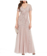 Adrianna Papell Cameo Beaded Formal Dress with Short Sleeves    8 - $256.41