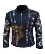 1053 WESTERN STYLE BEADED STUDDED EMBROIDERED BLACK COWHIDE LEATHER JACKET - $219.99