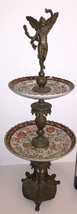 Important Centerpiece French 1900 bronze porcelain Etagère Art Nouveau Deco - $590.00
