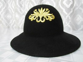 Vintage Womens 100% Wool Hat Black with Gold Embroidered Emblem Church D... - $29.69