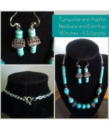 Turquoise and Black Agate Necklace and Earrings - $29.70