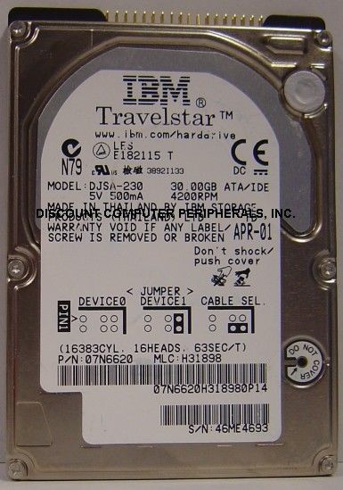 "IBM DJSA-230 30GB 12.5MM 2.5"" IDE Drive Tested Good Free USA Shipping"