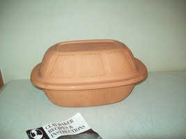 vintage Roshco Terracotta glazed Clay Bakeware with recipe booklet - ₨503.67 INR