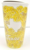 STARBUCKS 2016 Texas Yellow Roses Ceramic Coffee Travel Mug w/ Lid, 10oz - $25.69
