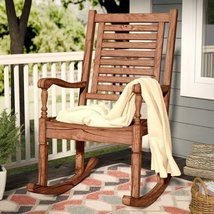 Patio Garden Outdoor Living Relax Imene Solid Acacia Wood Patio Rocking Chair Br - $227.69