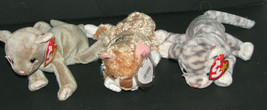 Ty Beanie Babies Set Of 3 Cats Scat Silver Mattie Plush Toys - $12.98