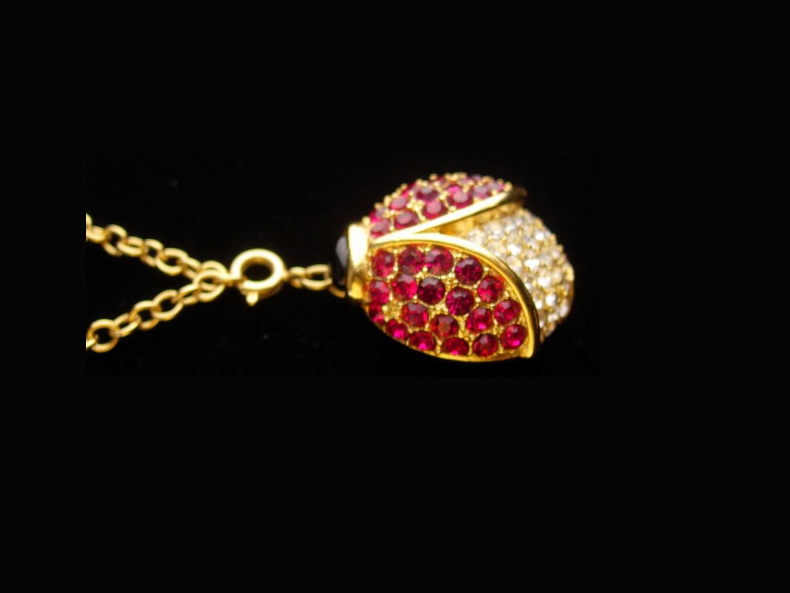 Arlene Dahl necklace - rhinestone Lady Bug - pave crystal Beetle pendant - Gold