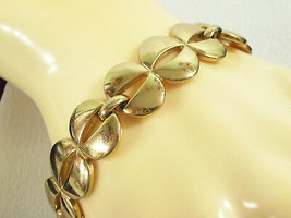 MONET Shiny Gold Plated Link Bracelet Openwork Safety Chain Cuff Vintage... - $19.79