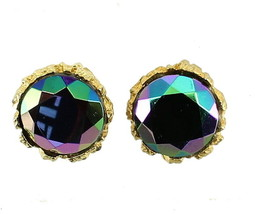 "VINTAGE TARA JULIANA D&E HELIATROPE  GLASS STONE 18MM CLIP EARRINGS 7/8""... - $89.99"