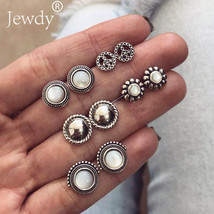Jewdy® 5 Pairs/Set Bijoux Flower Opal Stud Earrings Set For Woman Girl P... - $3.16