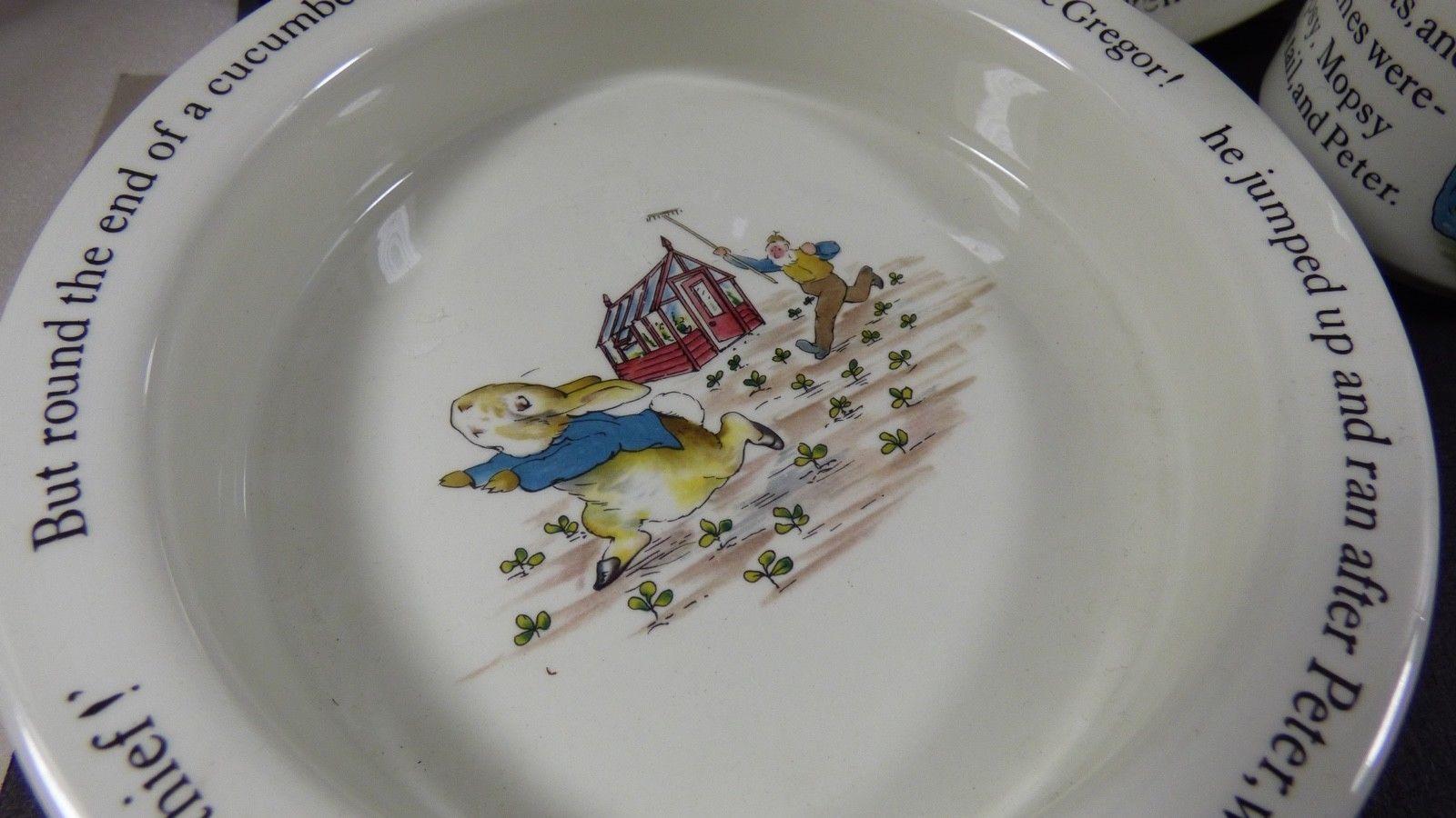Wedgwood England Peter Rabbit Children 3 Piece Nursery story Set bowl plate cup image 3
