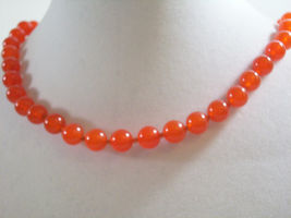 TRIFARI CORAL Color Beads Choker Necklace Hand Knotted Strand Orange Vintage  image 5