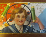 Vintage 4th of July Embossed Postcard - Boy with Fireworks, Message July 4, 1913