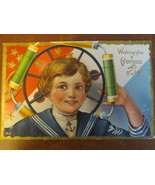Vintage 4th of July Embossed Postcard - Boy with Fireworks, Message July... - $149,76 MXN