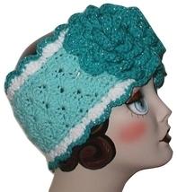 Turquoise Ear Warmer, Aqua Ear Warmer, Silver Thread White Blue Flower Headband - $32.00