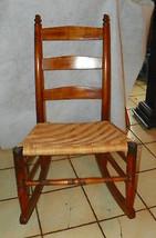 Cherry Slat Back Rush Seat Rocker / Rocking Chair   - $249.00