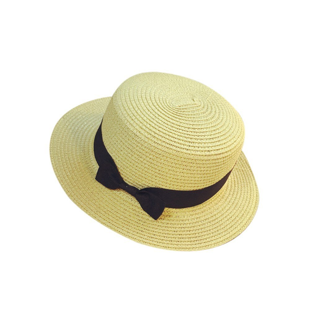 Floppy Foldable Ladies Women Straw Beach Sun Summer Hat Beige Wide Brim Breathab