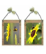 Bee Pictures Yellow Sunflower Flowers Summer Bed & Bath Wall Hangings Pl... - $7.99+