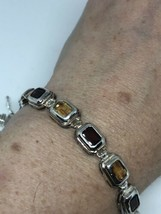 Vintage Genuine Red Garnet Citrine 925 Sterling Silver Tennis Bracelet - $193.05