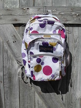 JANSPORT Backpack Book Bag Polka Dot Five 5 Pocket Zipper Metal Tabs Stu... - $18.65