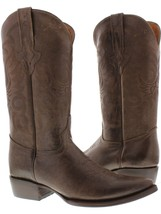 Mens Original Brown Full Plain Leather Western Cowboy Boots - €119,89 EUR
