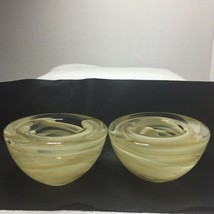 Kosta Boda Atoll Off White Swirl Votive Art Glass Candle Holder Sweden S... - $49.99