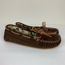 Minnetonka Moccasin Flats 6 Womens Shoes Brown Leather Loafer Faux Fur L... - $28.87
