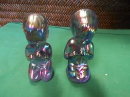 Great  Vintage FENTON Carnival Iridescent BOY & GIRL Praying Figurines - $32.26