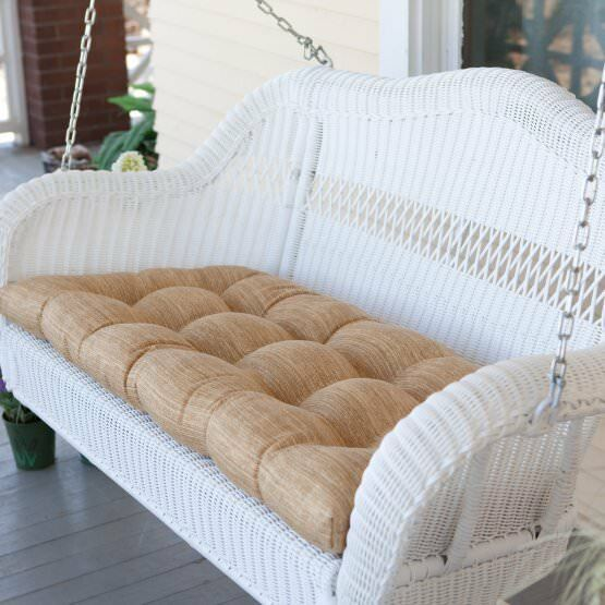 Traditional White Resin Wicker Outdoor Porch Swing Garden Patio Furniture image 2