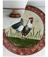 Rustic Rooster Cake Plate Stand Jay Import Red Rim Crackle Black White C... - $29.69