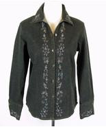 SUSAN GRAVER New Size S Black Denim Beaded Shaped Shirt Blouse - $10.99