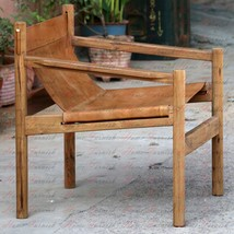 Handmade Wander-loot Genoa Solid Teak and Leather Sling Chair Brown Leat... - £348.32 GBP