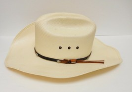 STETSON 8X HAT SHANTUNG Western Panama Cowboy Leather Band LOGO BAR 6 3/... - $79.93