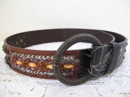 Chico's Embellished Leather Belt S Boho Beads Sequins Copper Metallic Em... - $14.01