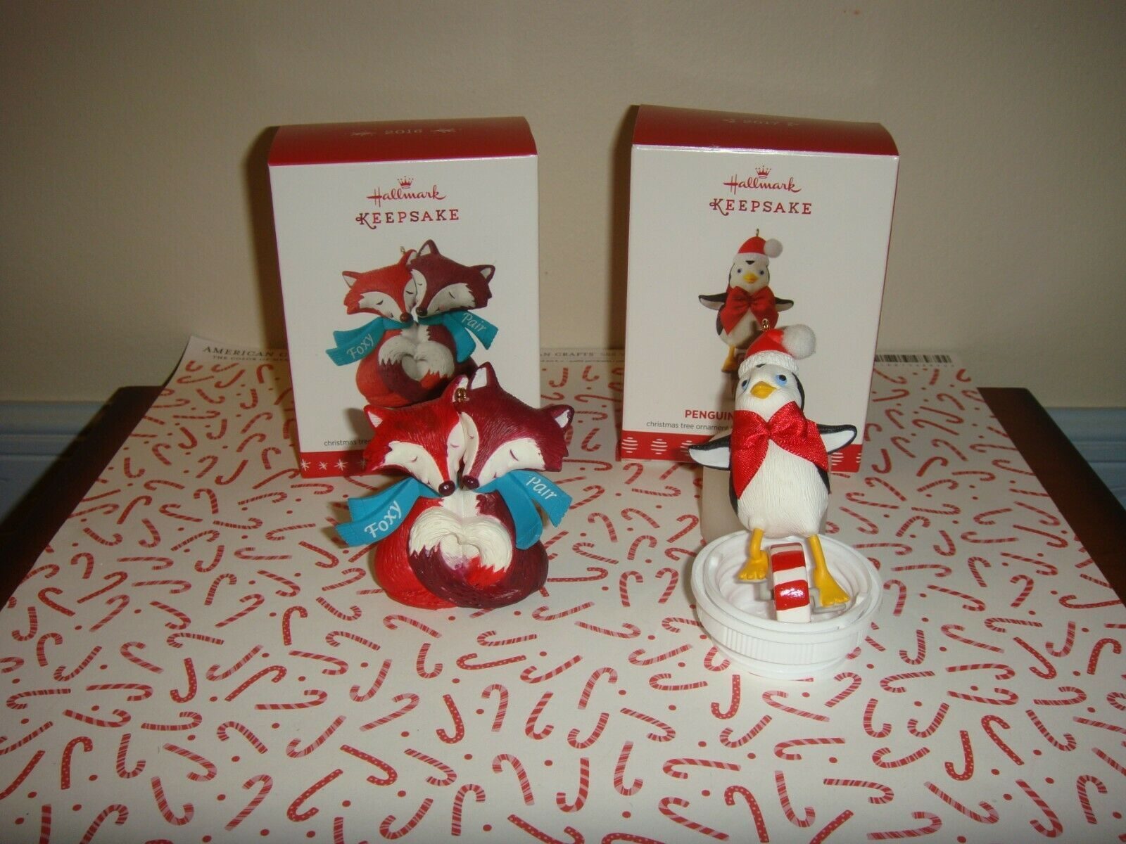 Primary image for Hallmark 2016 Foxy Pair & 2017 Penguin On Parade Ornaments