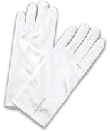 FIRST COMMUNION WHITE SATIN GLOVES WITH BEADED CROSS DESIGN - $18.80