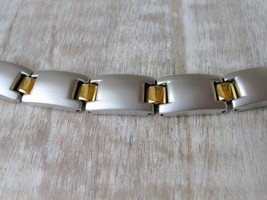 "7.5"" Unisex 2 Tone Matte Finish Bracelet From Hope Chest Jewelry - $13.94"