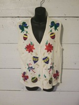 Ugly Christmas Sweater Vest Women's Ornaments Bows White Bright Colorful... - $14.84