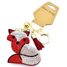 Pave Crystal Accent 3D Stuffed Pillow Red Fox Keychain Key Chain New w Tag image 1