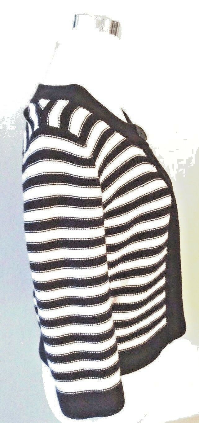 Croft & Barrow Women's Striped Cardigan Petite Sweater Blue White Knit Ribbed image 3